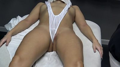 naughty masseur with yam-sized prick screw Latina wife customer with the flawless body in the massage room !